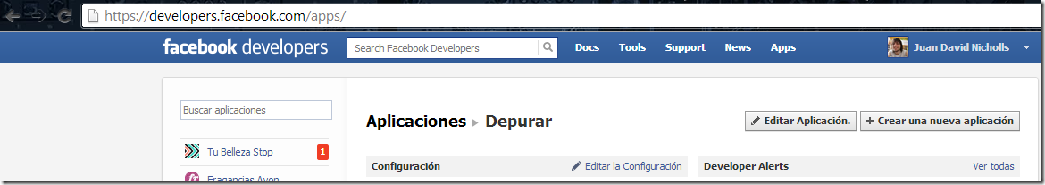 Aplicaciones en Facebook Developer