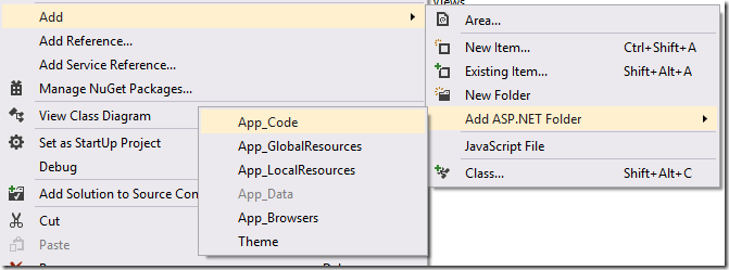 Añadir Carpeta App_Code