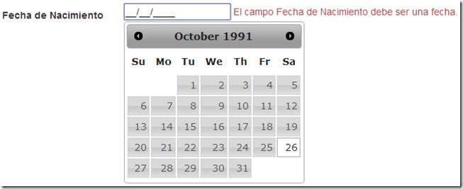 Calendario de jQuery UI con ASP.NET MVC