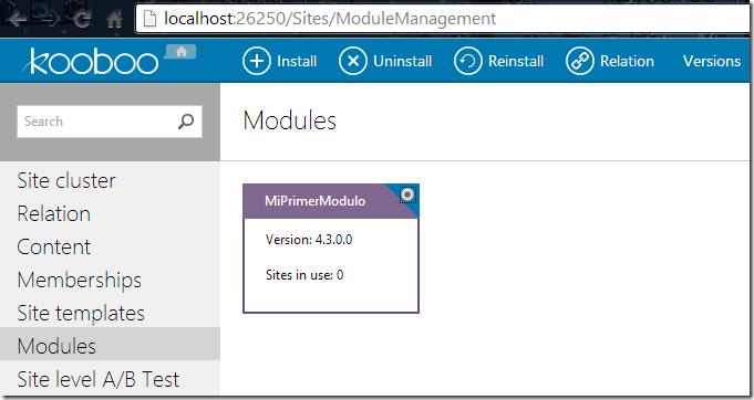 Módulo de Gestión de los Sitios Web en Kooboo CMS