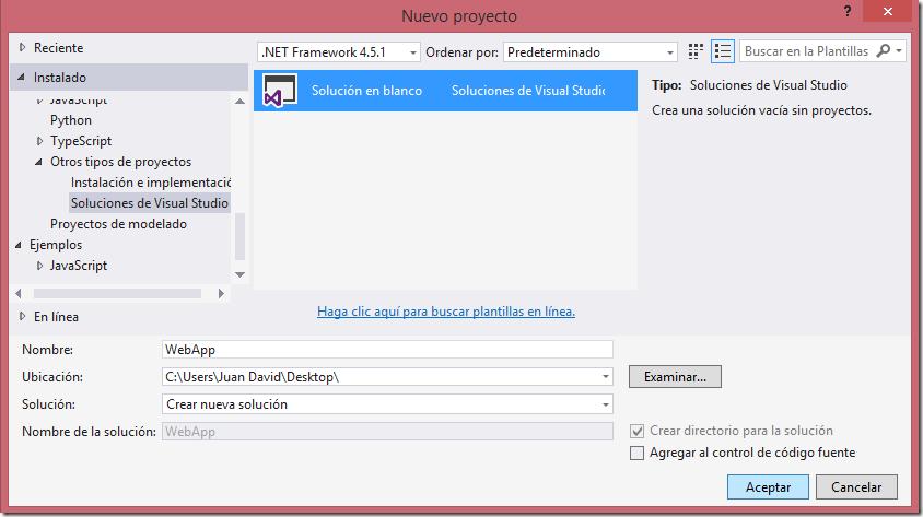 Creando una solución en blanco en Visual Studio