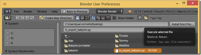 Instalar el complemento para exportar de Blender a Babylon.js