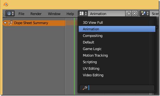 Vista de Animación en Blender