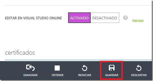 Activar Edición en Visual Studio Online